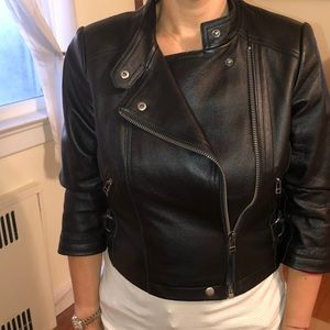 Leather cropped moto jacket DKNY